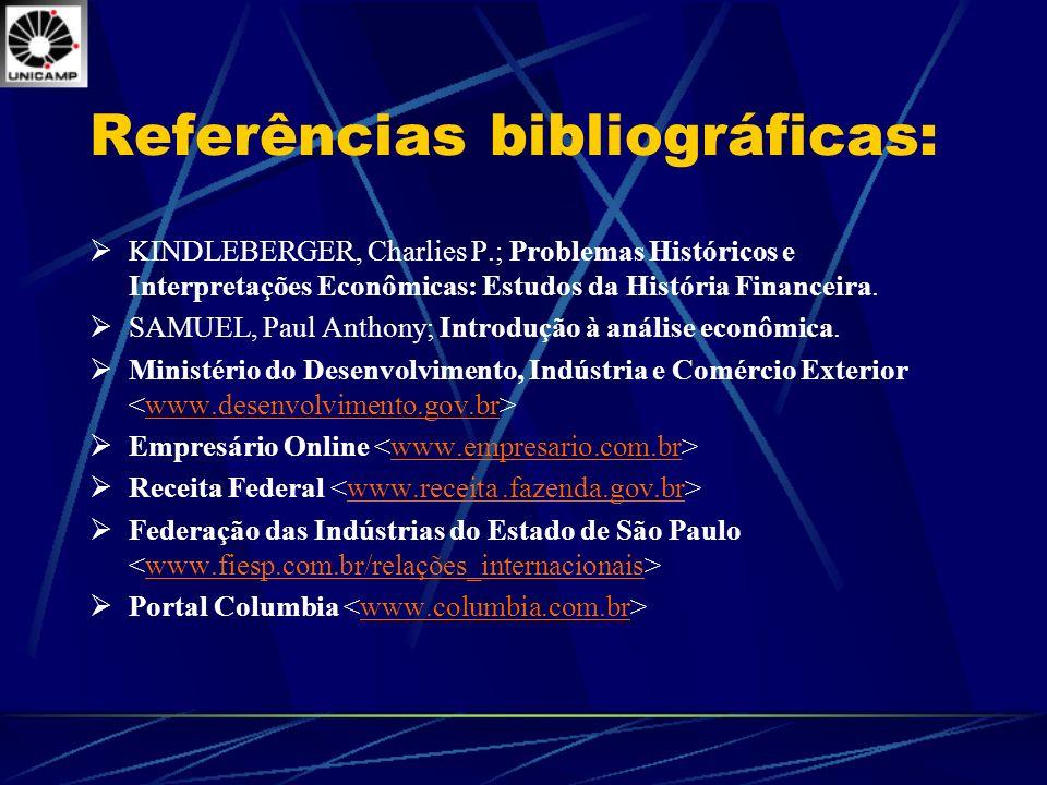 Referências bibliográficas: KINDLEBERGER, Charlies P.; Problemas Históricos e Interpretações Econômicas: Estudos da História Financeira. SAMUEL, Paul
