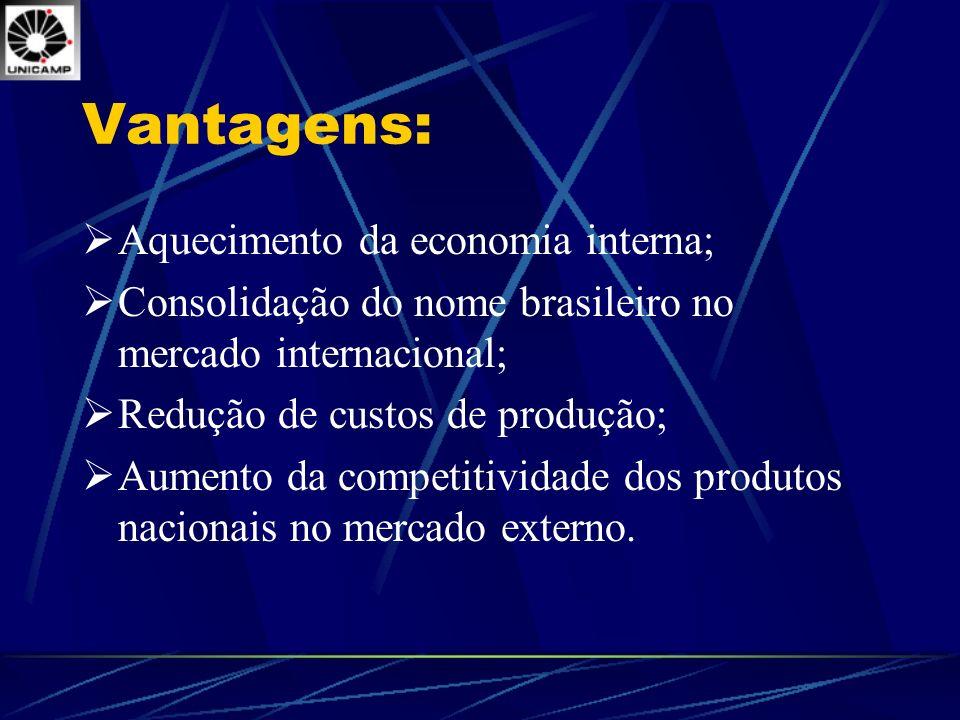 Vantagens: Aquecimento da economia interna; Consolidação do nome brasileiro no mercado internacional; Redução de custos de produção; Aumento da compet