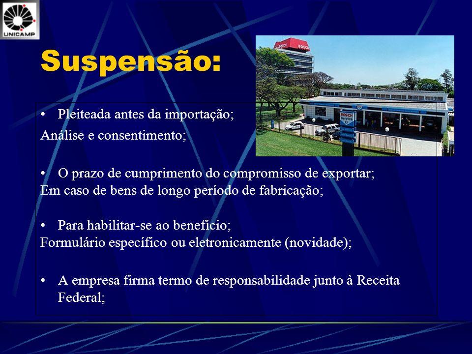 Suspensão: Pleiteada antes da importação; Análise e consentimento; O prazo de cumprimento do compromisso de exportar; Em caso de bens de longo período