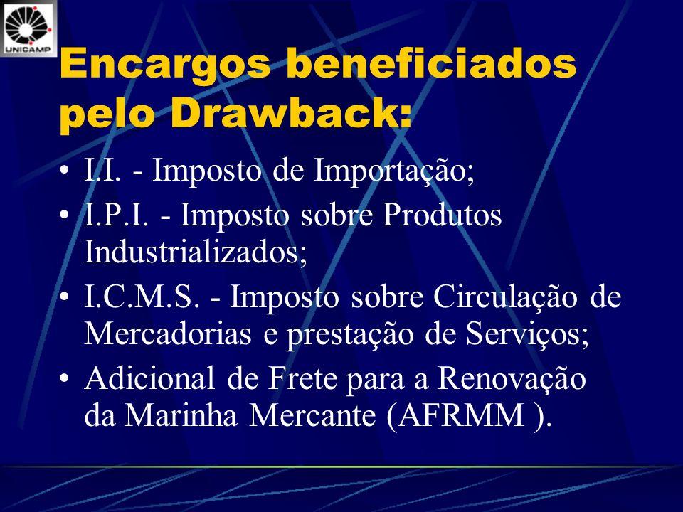 Encargos beneficiados pelo Drawback: I.I. - Imposto de Importação; I.P.I. - Imposto sobre Produtos Industrializados; I.C.M.S. - Imposto sobre Circulaç