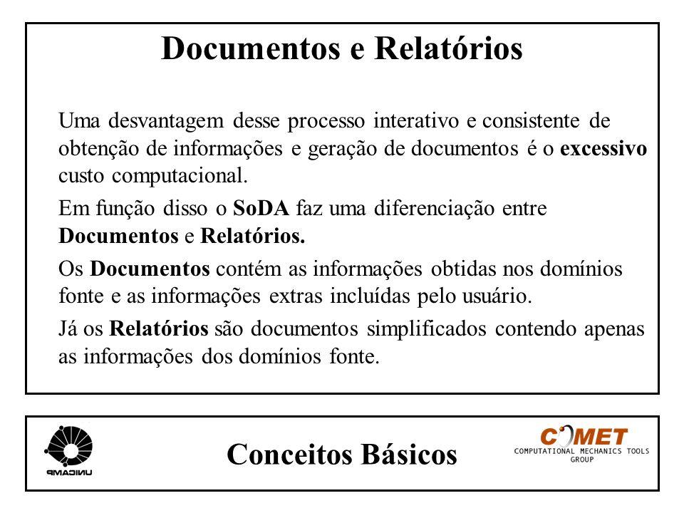 Conceitos Básicos Documentos e Relatórios Uma desvantagem desse processo interativo e consistente de obtenção de informações e geração de documentos é