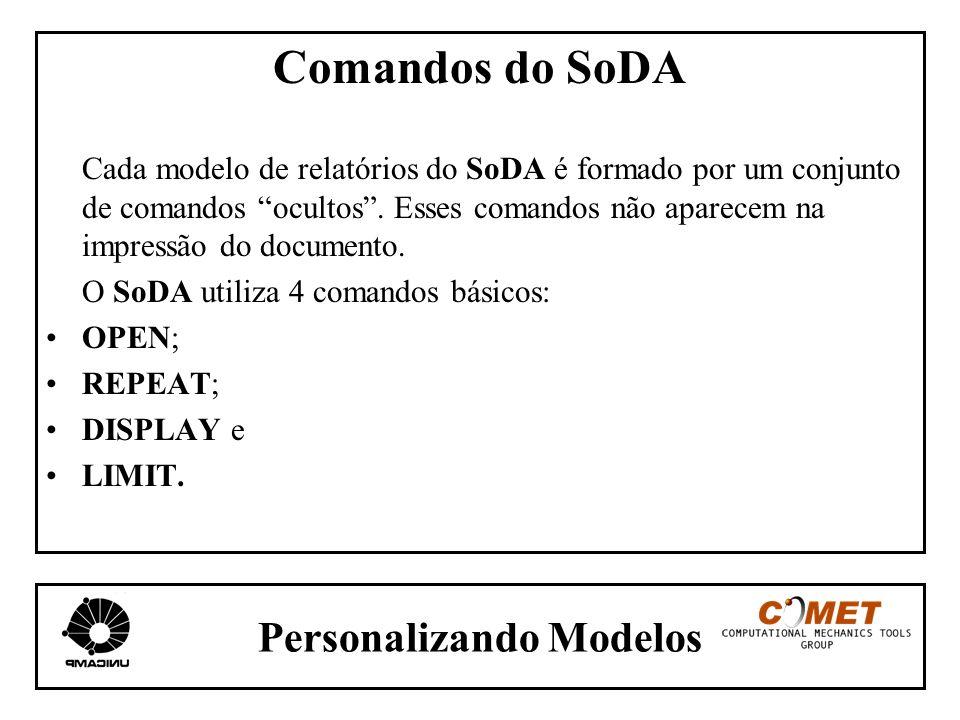 Personalizando Modelos Comandos do SoDA Cada modelo de relatórios do SoDA é formado por um conjunto de comandos ocultos. Esses comandos não aparecem n
