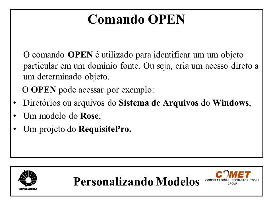 Personalizando Modelos Comando OPEN O comando OPEN é utilizado para identificar um um objeto particular em um domínio fonte. Ou seja, cria um acesso d