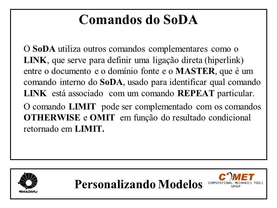 Personalizando Modelos Comandos do SoDA O SoDA utiliza outros comandos complementares como o LINK, que serve para definir uma ligação direta (hiperlin