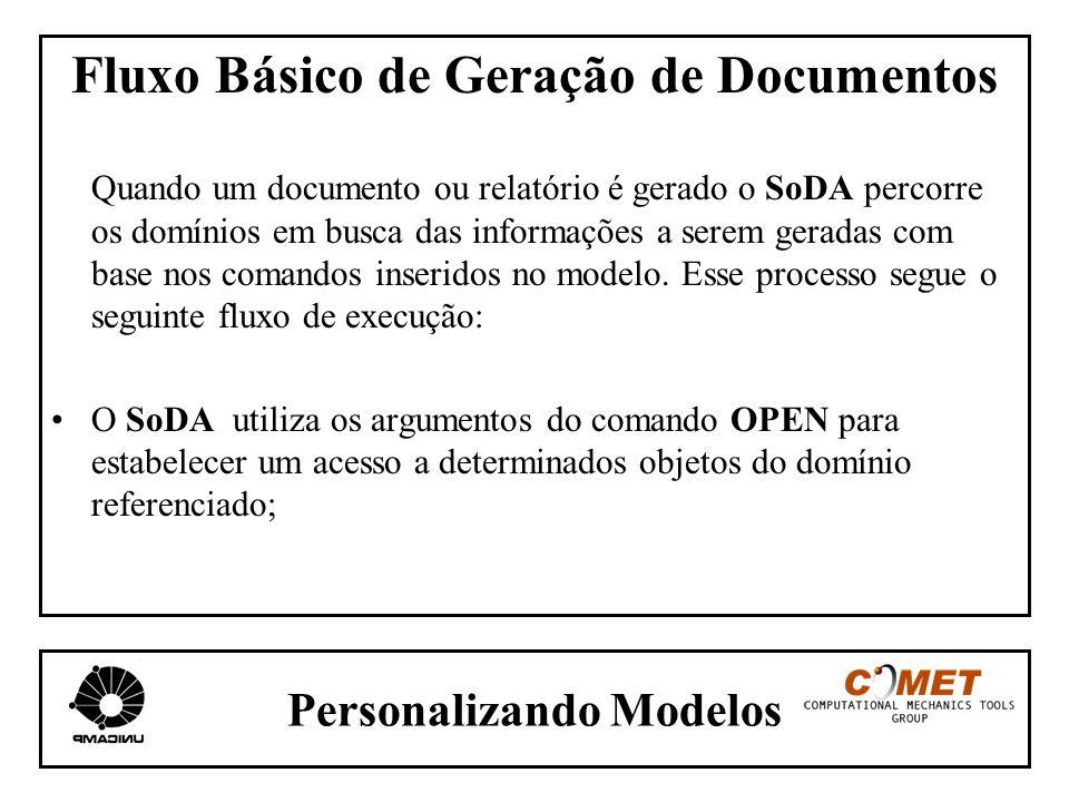 Personalizando Modelos Fluxo Básico de Geração de Documentos Quando um documento ou relatório é gerado o SoDA percorre os domínios em busca das inform