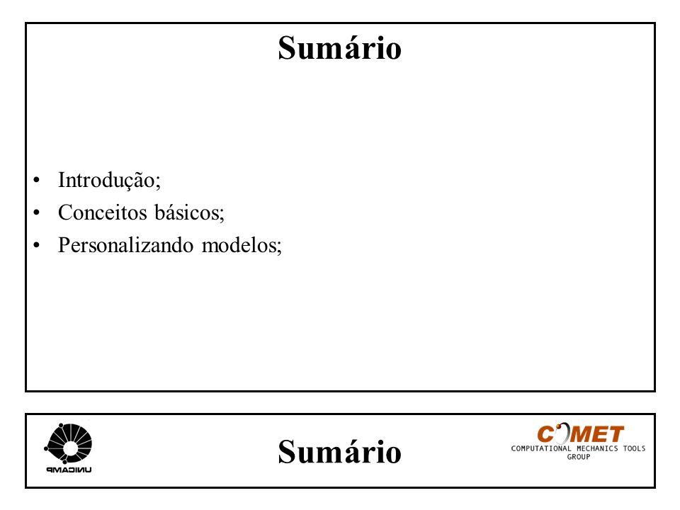 Sumário Introdução; Conceitos básicos; Personalizando modelos;