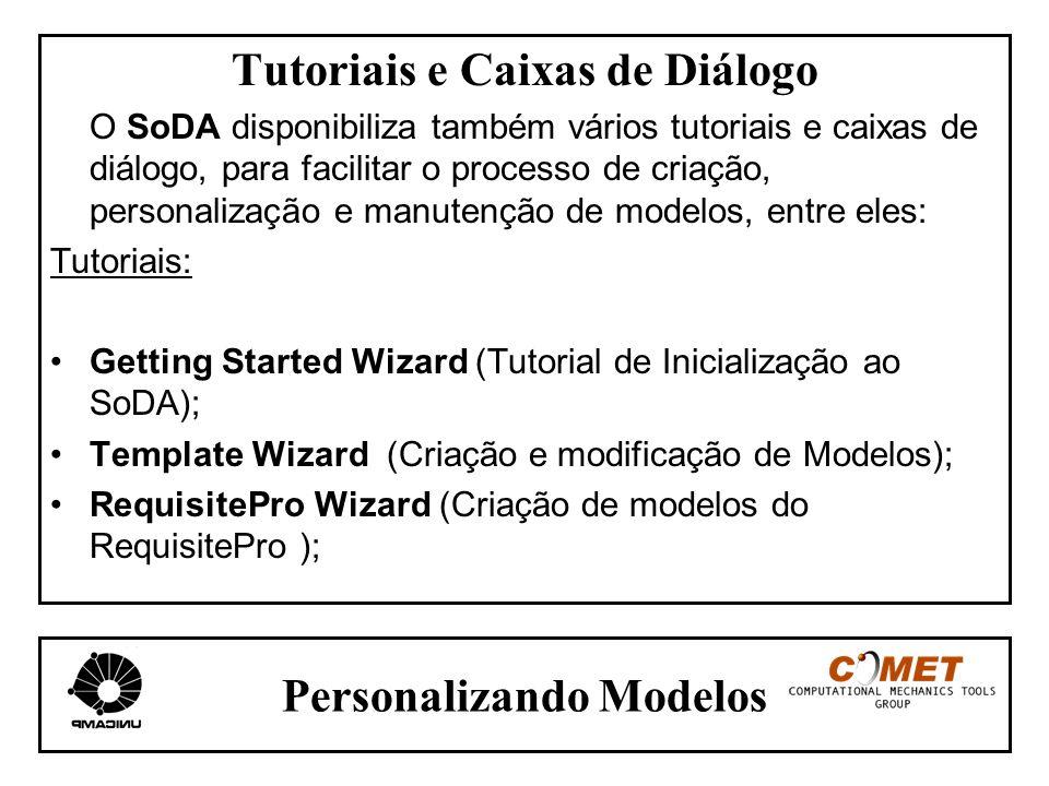 Personalizando Modelos Tutoriais e Caixas de Diálogo O SoDA disponibiliza também vários tutoriais e caixas de diálogo, para facilitar o processo de cr
