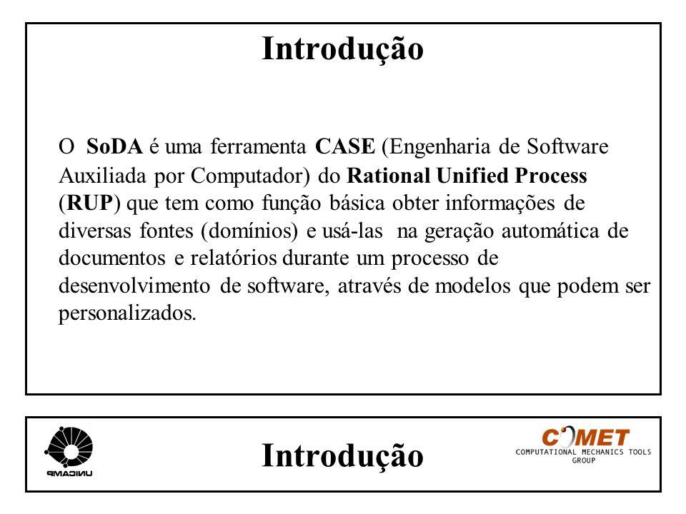 Introdução O SoDA é uma ferramenta CASE (Engenharia de Software Auxiliada por Computador) do Rational Unified Process (RUP) que tem como função básica