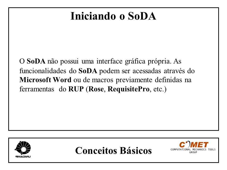 Conceitos Básicos Iniciando o SoDA O SoDA não possui uma interface gráfica própria. As funcionalidades do SoDA podem ser acessadas através do Microsof