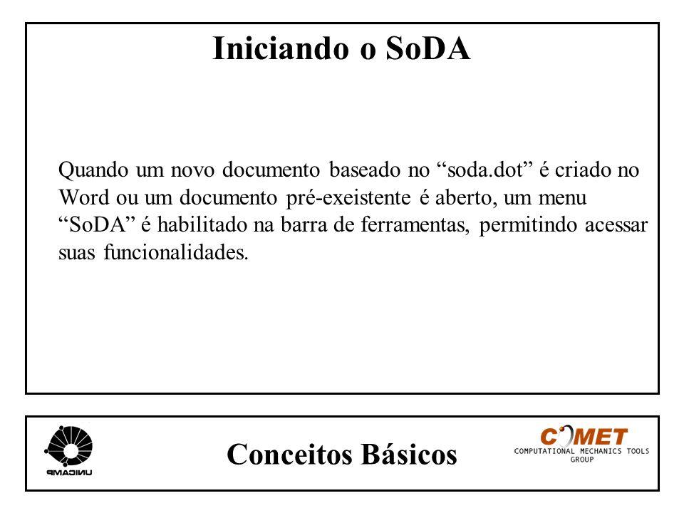 Conceitos Básicos Iniciando o SoDA Quando um novo documento baseado no soda.dot é criado no Word ou um documento pré-exeistente é aberto, um menu SoDA