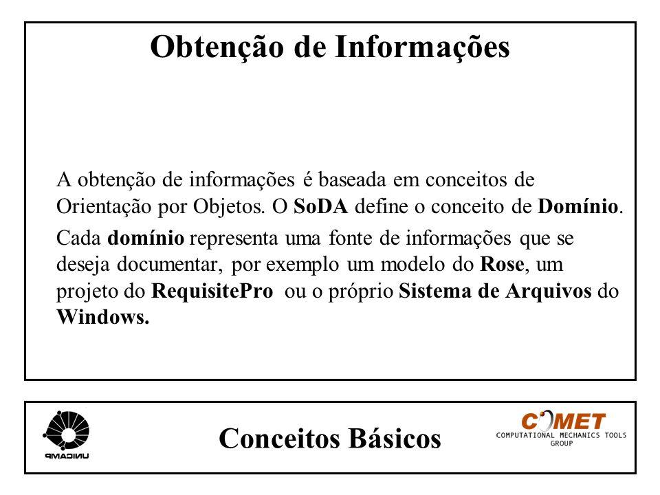 Conceitos Básicos Obtenção de Informações A obtenção de informações é baseada em conceitos de Orientação por Objetos. O SoDA define o conceito de Domí