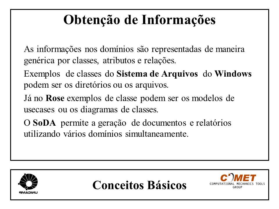 Conceitos Básicos Obtenção de Informações As informações nos domínios são representadas de maneira genérica por classes, atributos e relações. Exemplo