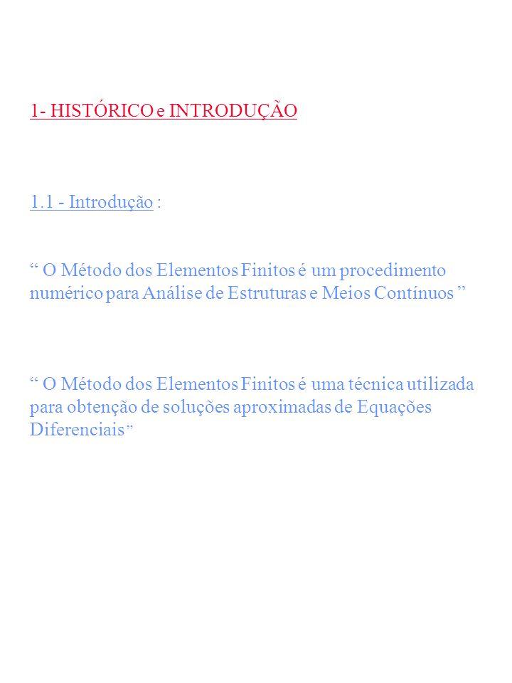 1- HISTÓRICO e INTRODUÇÃO 1.1 - Introdução : O Método dos Elementos Finitos é um procedimento numérico para Análise de Estruturas e Meios Contínuos O