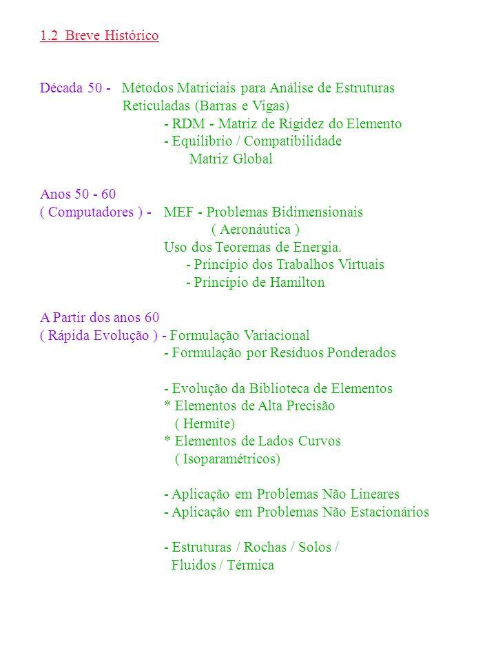 1.2 Breve Histórico Década 50 - Métodos Matriciais para Análise de Estruturas Reticuladas (Barras e Vigas) - RDM - Matriz de Rigidez do Elemento - Equ
