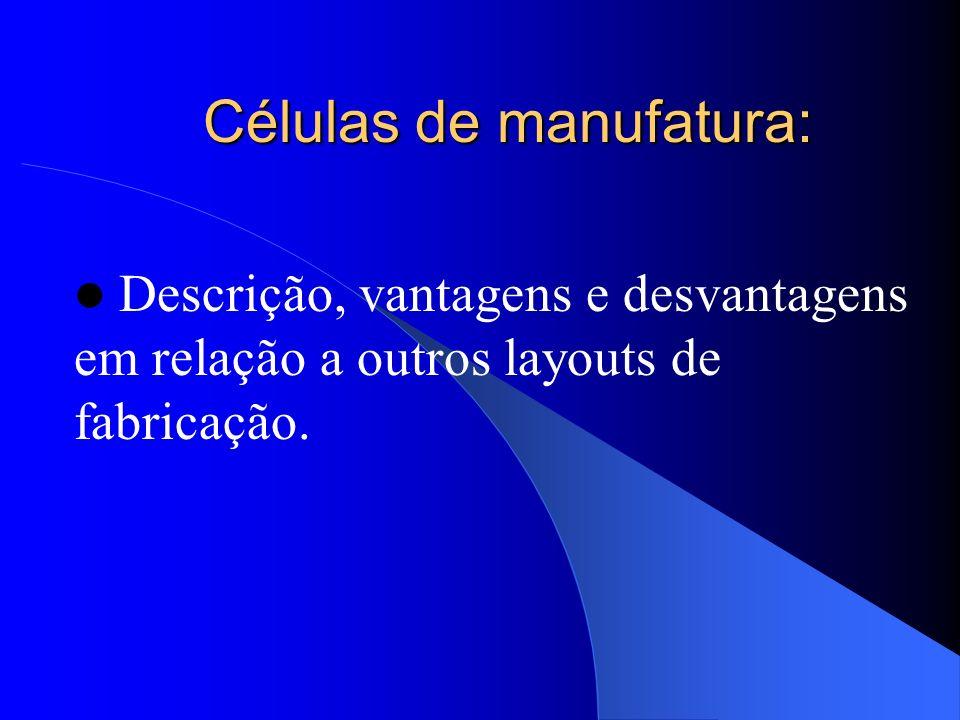 Células de manufatura: Descrição, vantagens e desvantagens em relação a outros layouts de fabricação.