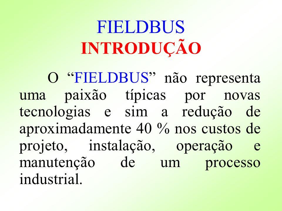 O FIELDBUS não representa uma paixão típicas por novas tecnologias e sim a redução de aproximadamente 40 % nos custos de projeto, instalação, operação