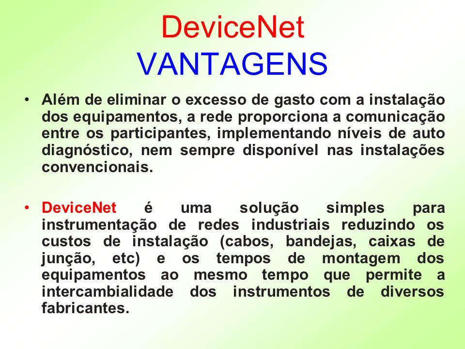 DeviceNet VANTAGENS Além de eliminar o excesso de gasto com a instalação dos equipamentos, a rede proporciona a comunicação entre os participantes, im