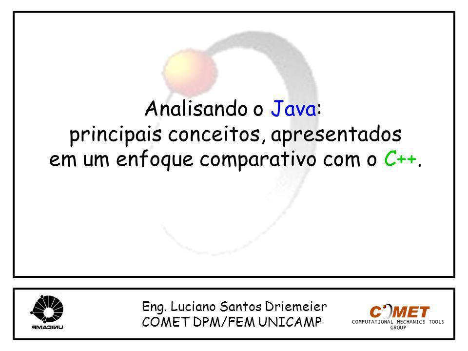 Analisando o Java: principais conceitos, apresentados em um enfoque comparativo com o C++. Eng. Luciano Santos Driemeier COMET DPM/FEM UNICAMP