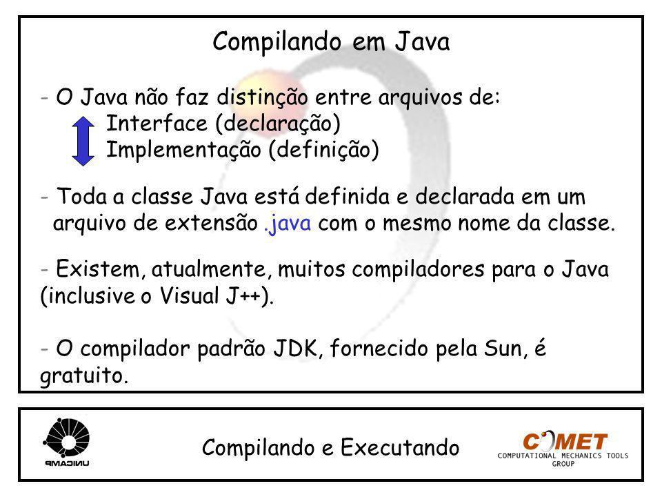 Compilando em Java - O Java não faz distinção entre arquivos de: Interface (declaração) Implementação (definição) - Toda a classe Java está definida e