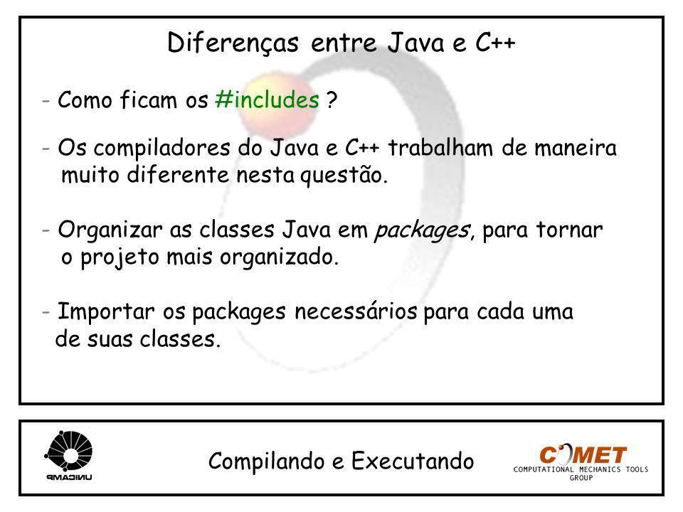 Diferenças entre Java e C++ - Como ficam os #includes ? - Os compiladores do Java e C++ trabalham de maneira muito diferente nesta questão. - Organiza