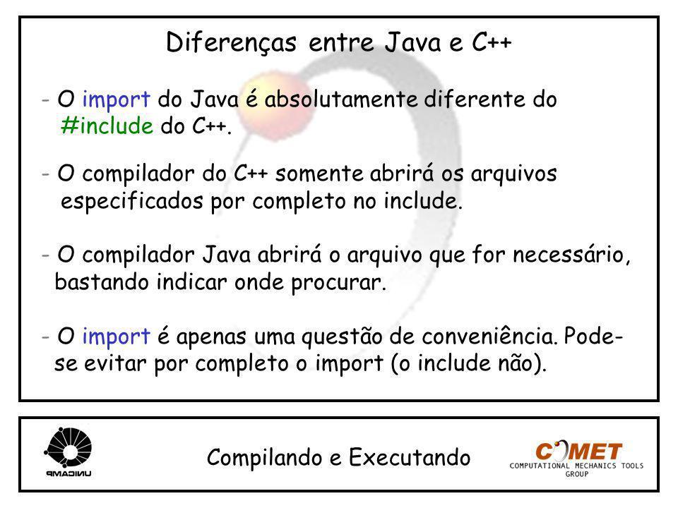 Diferenças entre Java e C++ - O import do Java é absolutamente diferente do #include do C++. - O compilador do C++ somente abrirá os arquivos especifi