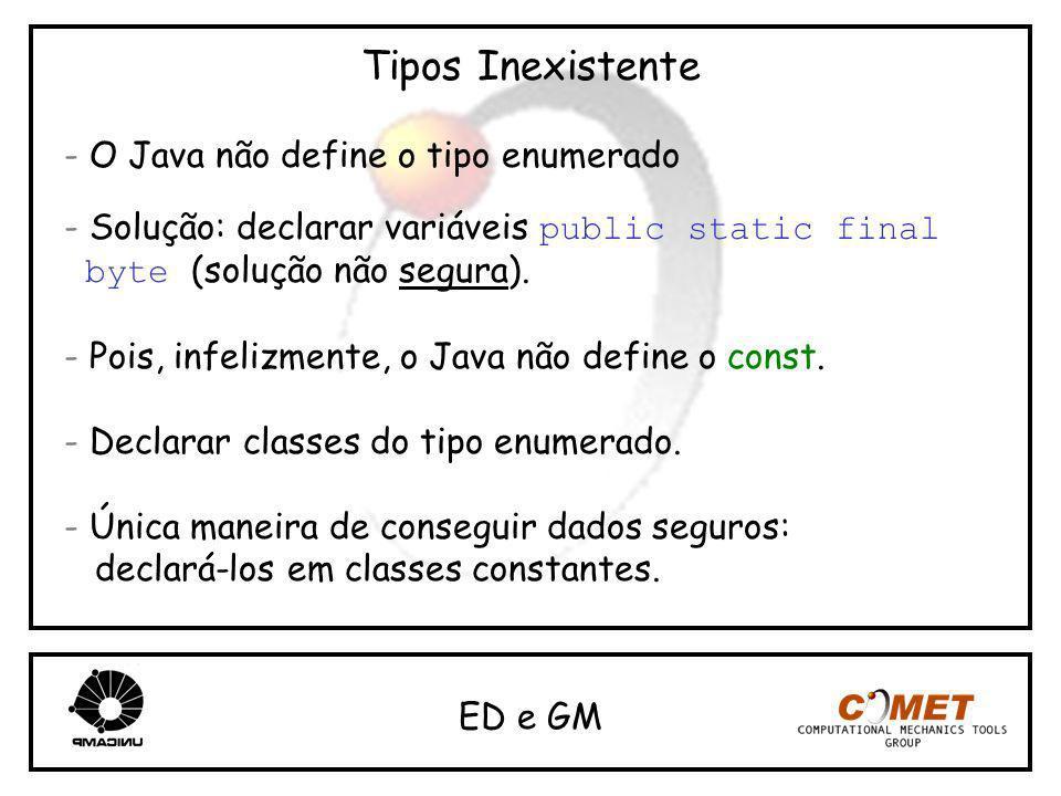 Tipos Inexistente - O Java não define o tipo enumerado - Solução: declarar variáveis public static final byte (solução não segura). - Pois, infelizmen