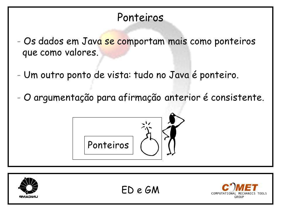 Ponteiros - Os dados em Java se comportam mais como ponteiros que como valores. - Um outro ponto de vista: tudo no Java é ponteiro. - O argumentação p