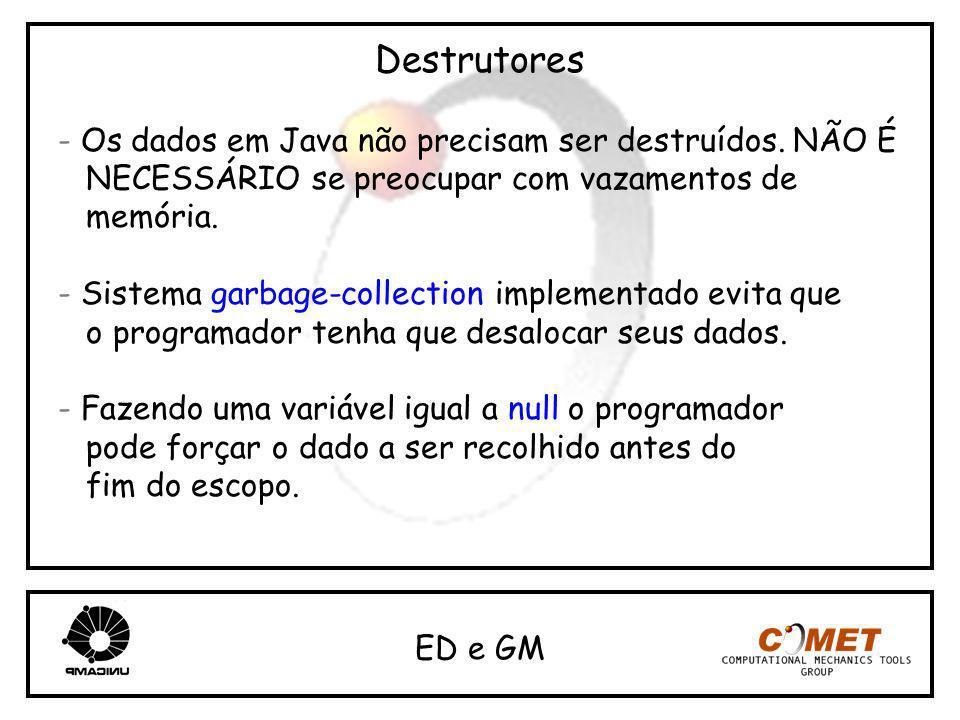 Destrutores - Os dados em Java não precisam ser destruídos. NÃO É NECESSÁRIO se preocupar com vazamentos de memória. - Sistema garbage-collection impl