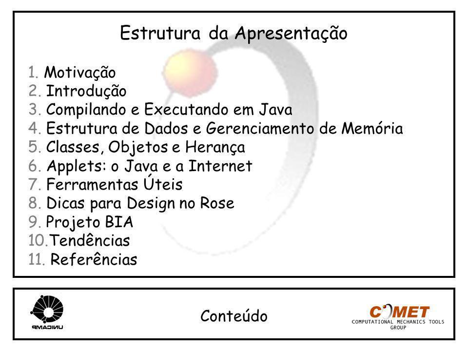 Estrutura da Apresentação 1. Motivação 2. Introdução 3. Compilando e Executando em Java 4. Estrutura de Dados e Gerenciamento de Memória 5. Classes, O