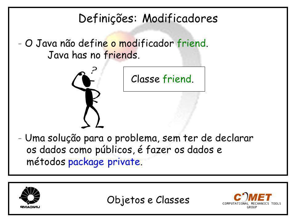 Definições: Modificadores - O Java não define o modificador friend. Java has no friends. - Uma solução para o problema, sem ter de declarar os dados c