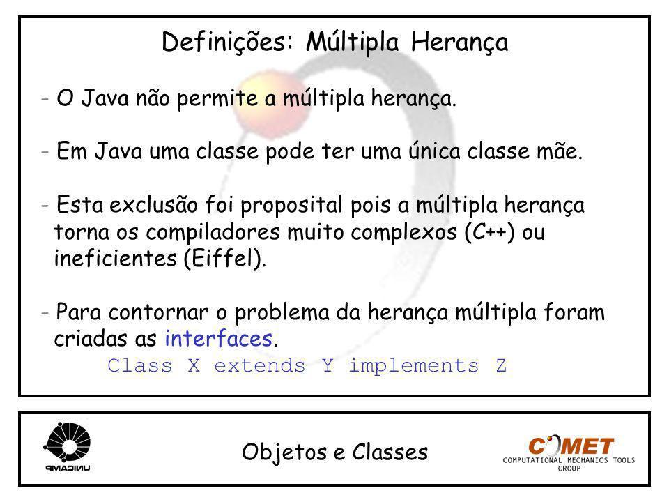 Definições: Múltipla Herança - O Java não permite a múltipla herança. - Em Java uma classe pode ter uma única classe mãe. - Esta exclusão foi proposit