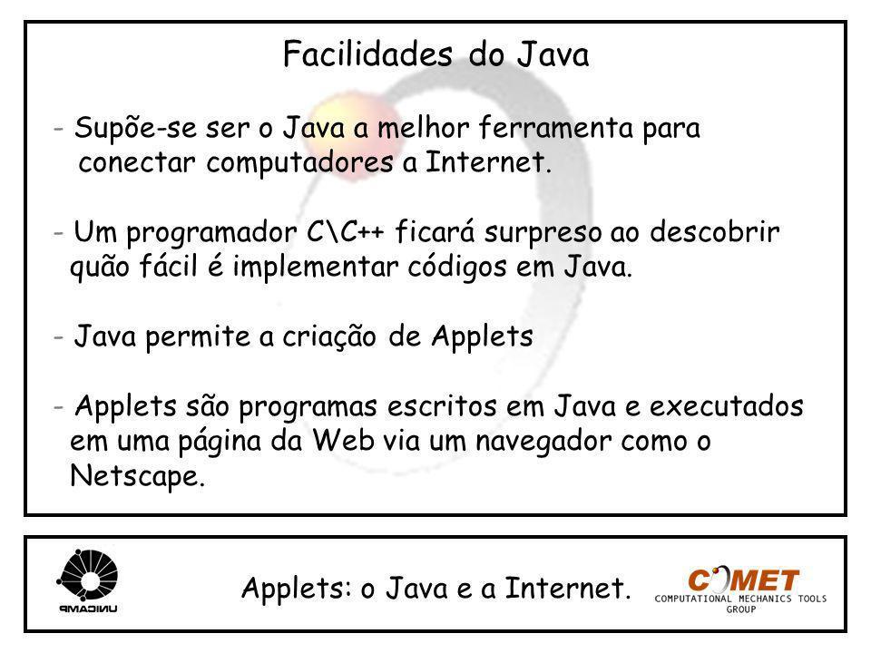 Facilidades do Java - Supõe-se ser o Java a melhor ferramenta para conectar computadores a Internet. - Um programador C\C++ ficará surpreso ao descobr