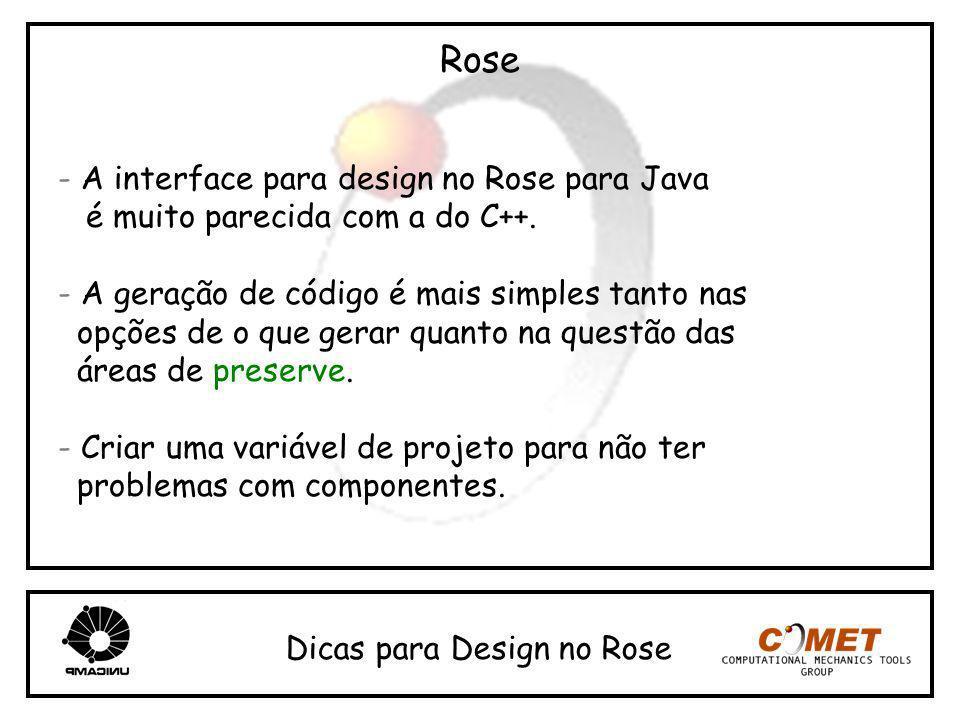 Rose - A interface para design no Rose para Java é muito parecida com a do C++. - A geração de código é mais simples tanto nas opções de o que gerar q