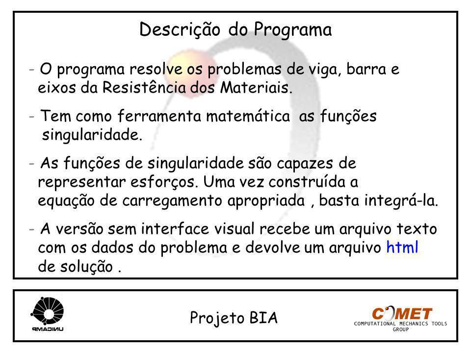 Descrição do Programa - O programa resolve os problemas de viga, barra e eixos da Resistência dos Materiais. - Tem como ferramenta matemática as funçõ
