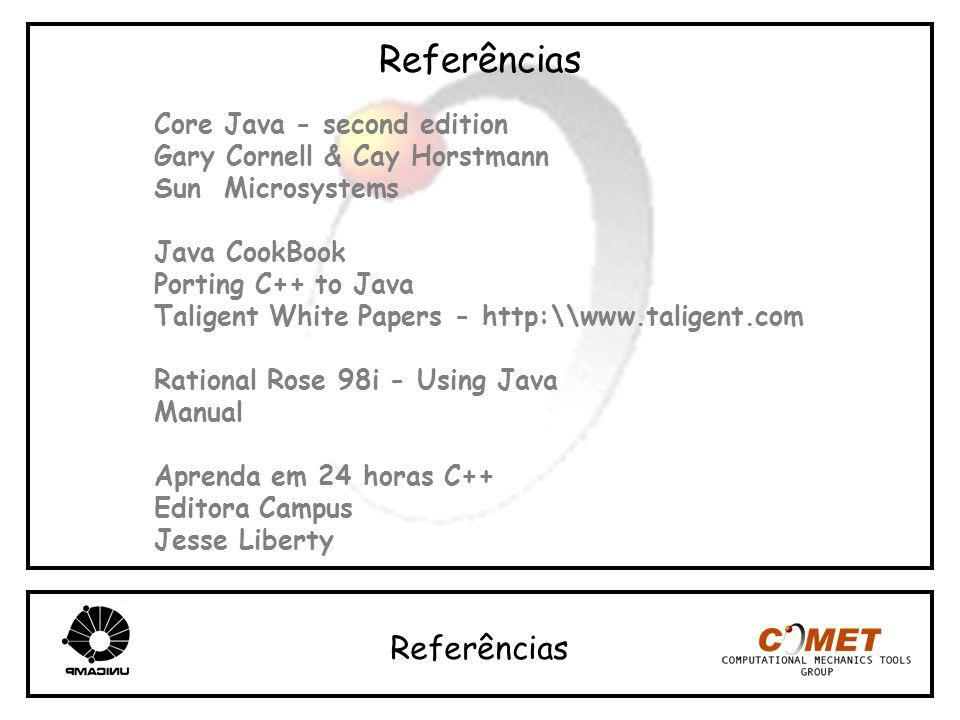 Referências Core Java - second edition Gary Cornell & Cay Horstmann Sun Microsystems Java CookBook Porting C++ to Java Taligent White Papers - http:\\