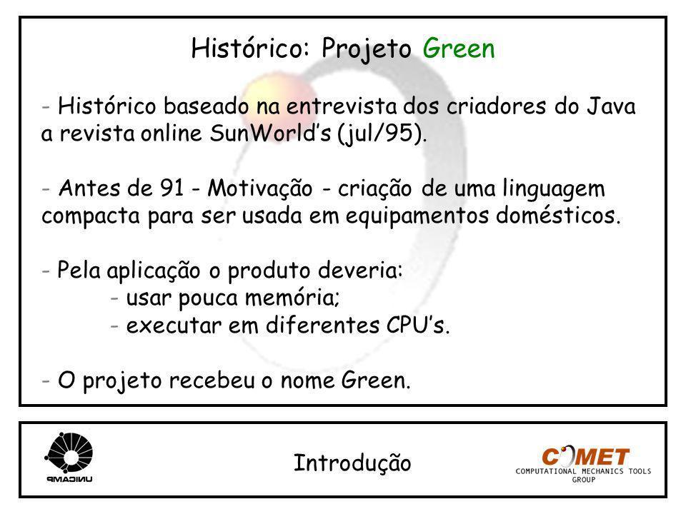 Histórico: Projeto Green - Histórico baseado na entrevista dos criadores do Java a revista online SunWorlds (jul/95). - Antes de 91 - Motivação - cria