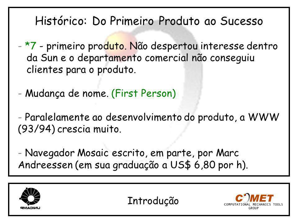 Histórico: Do Primeiro Produto ao Sucesso - *7 - primeiro produto. Não despertou interesse dentro da Sun e o departamento comercial não conseguiu clie