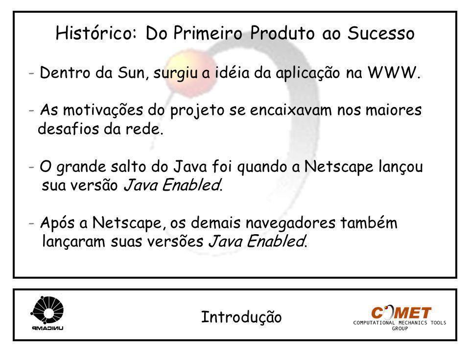 Histórico: Do Primeiro Produto ao Sucesso - Dentro da Sun, surgiu a idéia da aplicação na WWW. - As motivações do projeto se encaixavam nos maiores de