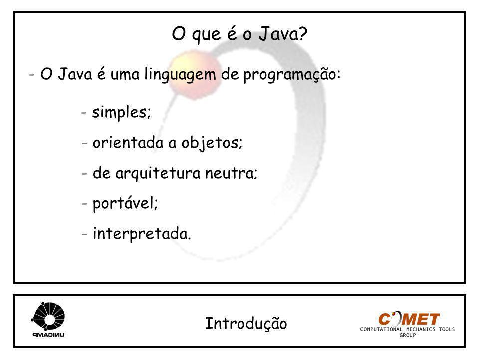 O que é o Java? - O Java é uma linguagem de programação: - simples; - orientada a objetos; - de arquitetura neutra; - portável; - interpretada. Introd