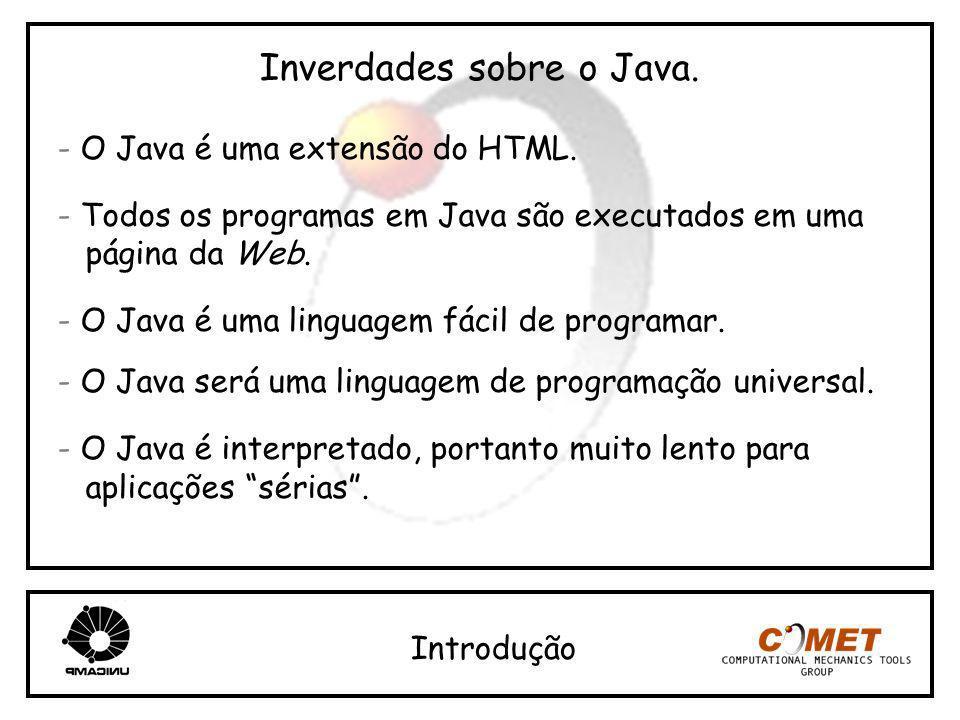 Inverdades sobre o Java. - O Java é uma extensão do HTML. - Todos os programas em Java são executados em uma página da Web. - O Java é uma linguagem f