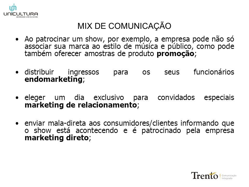 MIX DE COMUNICAÇÃO Ao patrocinar um show, por exemplo, a empresa pode não só associar sua marca ao estilo de música e público, como pode também oferec