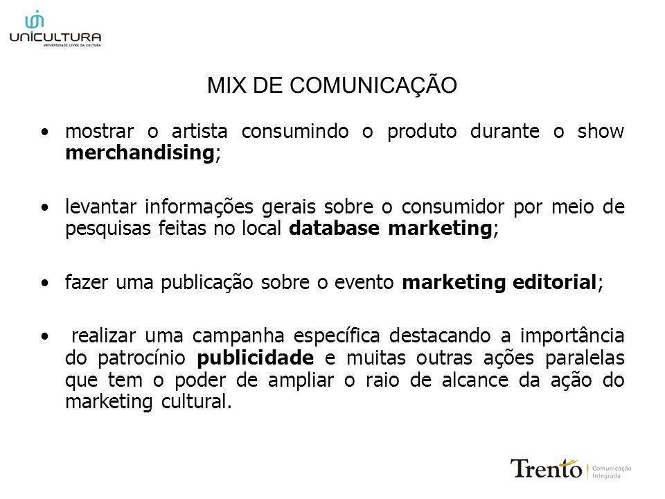 MIX DE COMUNICAÇÃO mostrar o artista consumindo o produto durante o show merchandising; levantar informações gerais sobre o consumidor por meio de pes