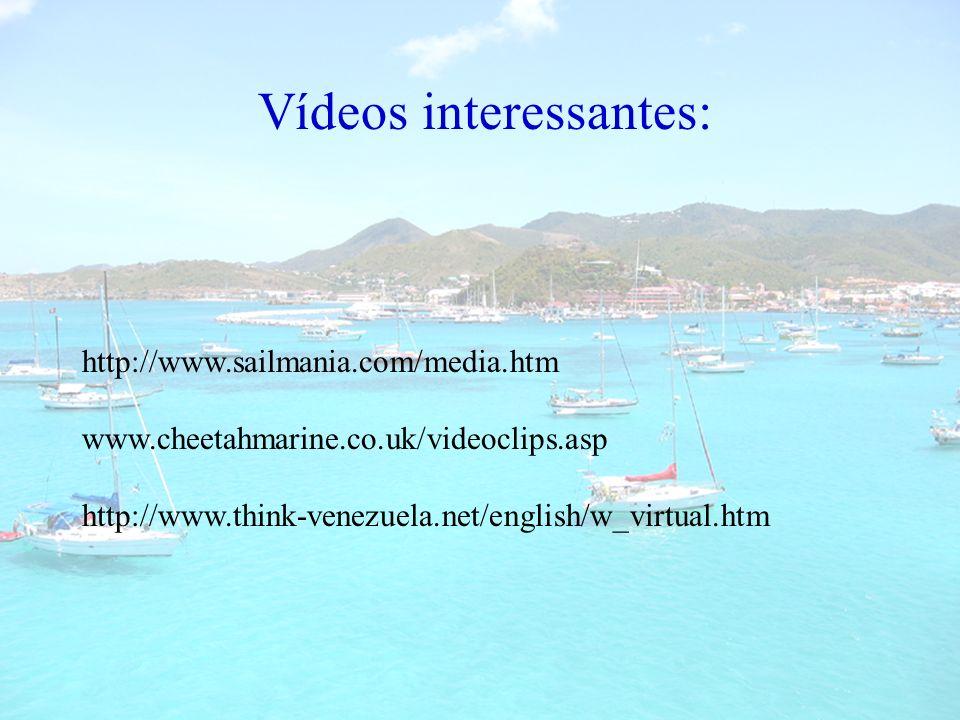 Vídeos interessantes: http://www.sailmania.com/media.htm www.cheetahmarine.co.uk/videoclips.asp http://www.think-venezuela.net/english/w_virtual.htm