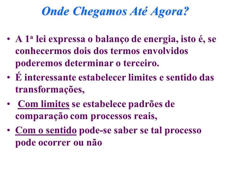Onde Chegamos Até Agora? A 1 a lei expressa o balanço de energia, isto é, se conhecermos dois dos termos envolvidos poderemos determinar o terceiro. É
