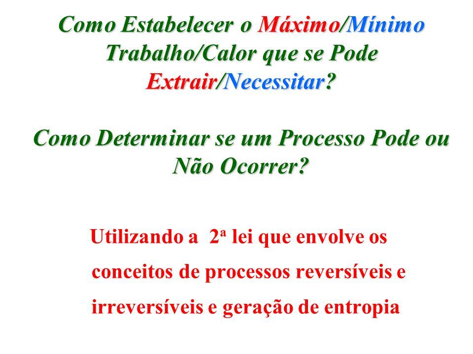 Como Estabelecer o Máximo/Mínimo Trabalho/Calor que se Pode Extrair/Necessitar? Como Determinar se um Processo Pode ou Não Ocorrer? Utilizando a 2 a l