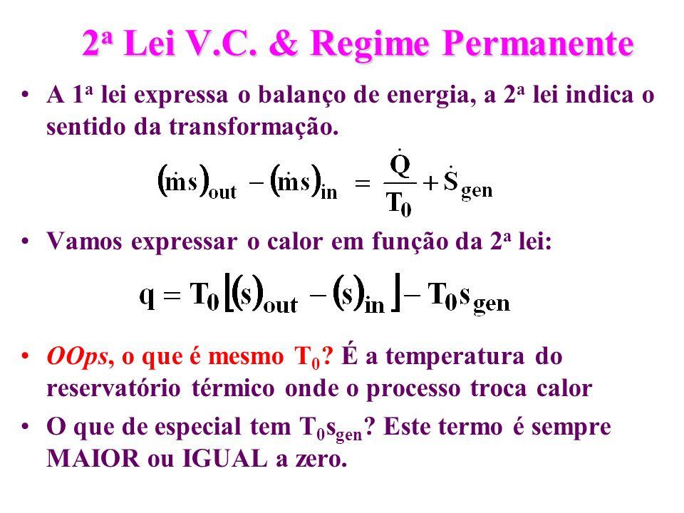 2 a Lei V.C. & Regime Permanente A 1 a lei expressa o balanço de energia, a 2 a lei indica o sentido da transformação. Vamos expressar o calor em funç
