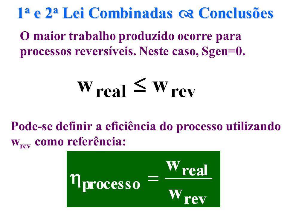 1 a e 2 a Lei Combinadas Conclusões Pode-se definir a eficiência do processo utilizando w rev como referência: O maior trabalho produzido ocorre para