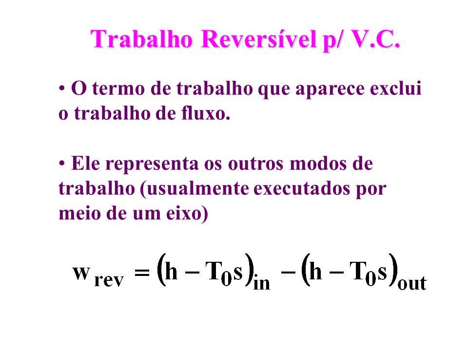 Trabalho Reversível p/ V.C. O termo de trabalho que aparece exclui o trabalho de fluxo. Ele representa os outros modos de trabalho (usualmente executa