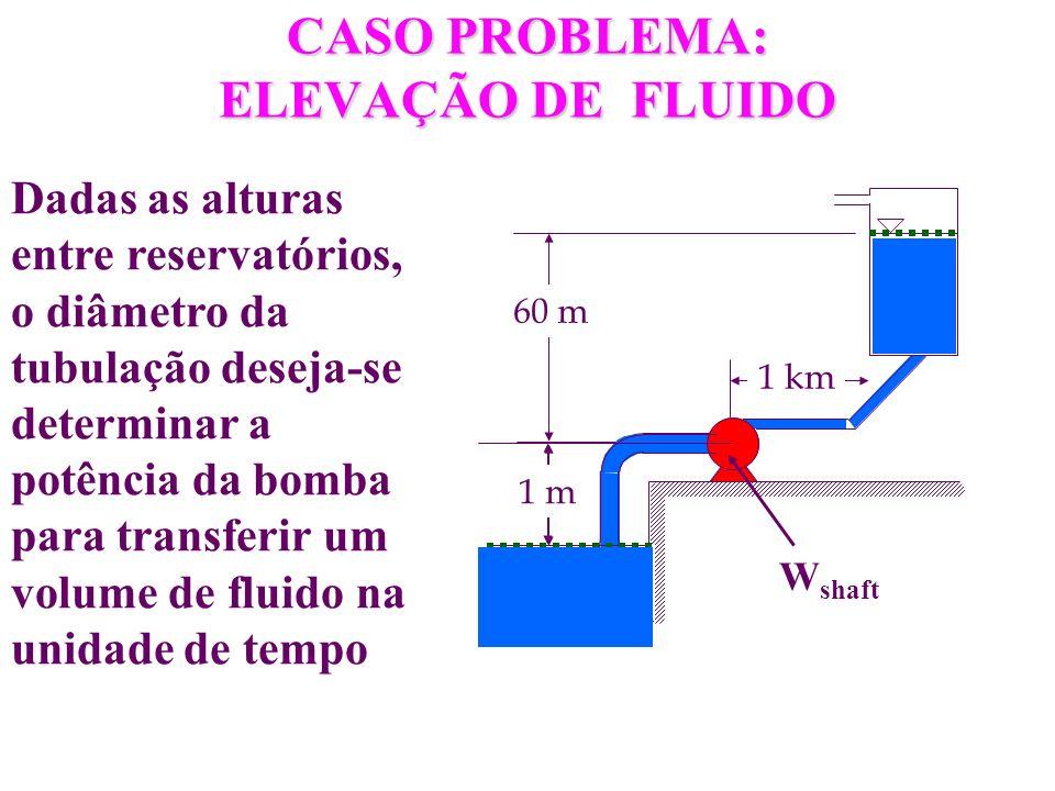 CASO PROBLEMA: ELEVAÇÃO DE FLUIDO 60 m 1 km 1 m W shaft Dadas as alturas entre reservatórios, o diâmetro da tubulação deseja-se determinar a potência