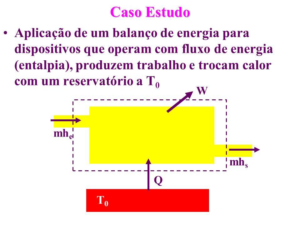 Caso Estudo Aplicação de um balanço de energia para dispositivos que operam com fluxo de energia (entalpia), produzem trabalho e trocam calor com um r